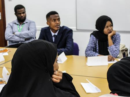 Young refugees attending an employment workshop in Bristol