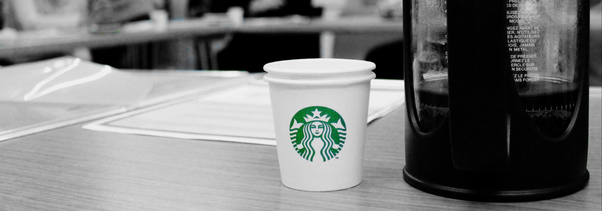 Starbucks coffee cup at a refugee training day