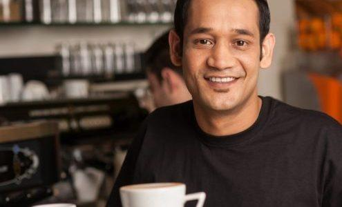 Man serving coffee