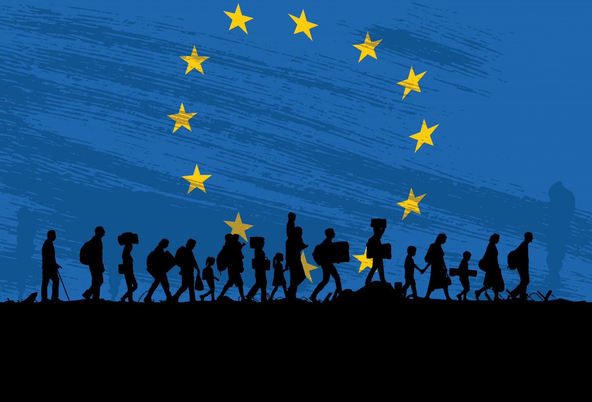 European flag with silhouette of refugees walking across it