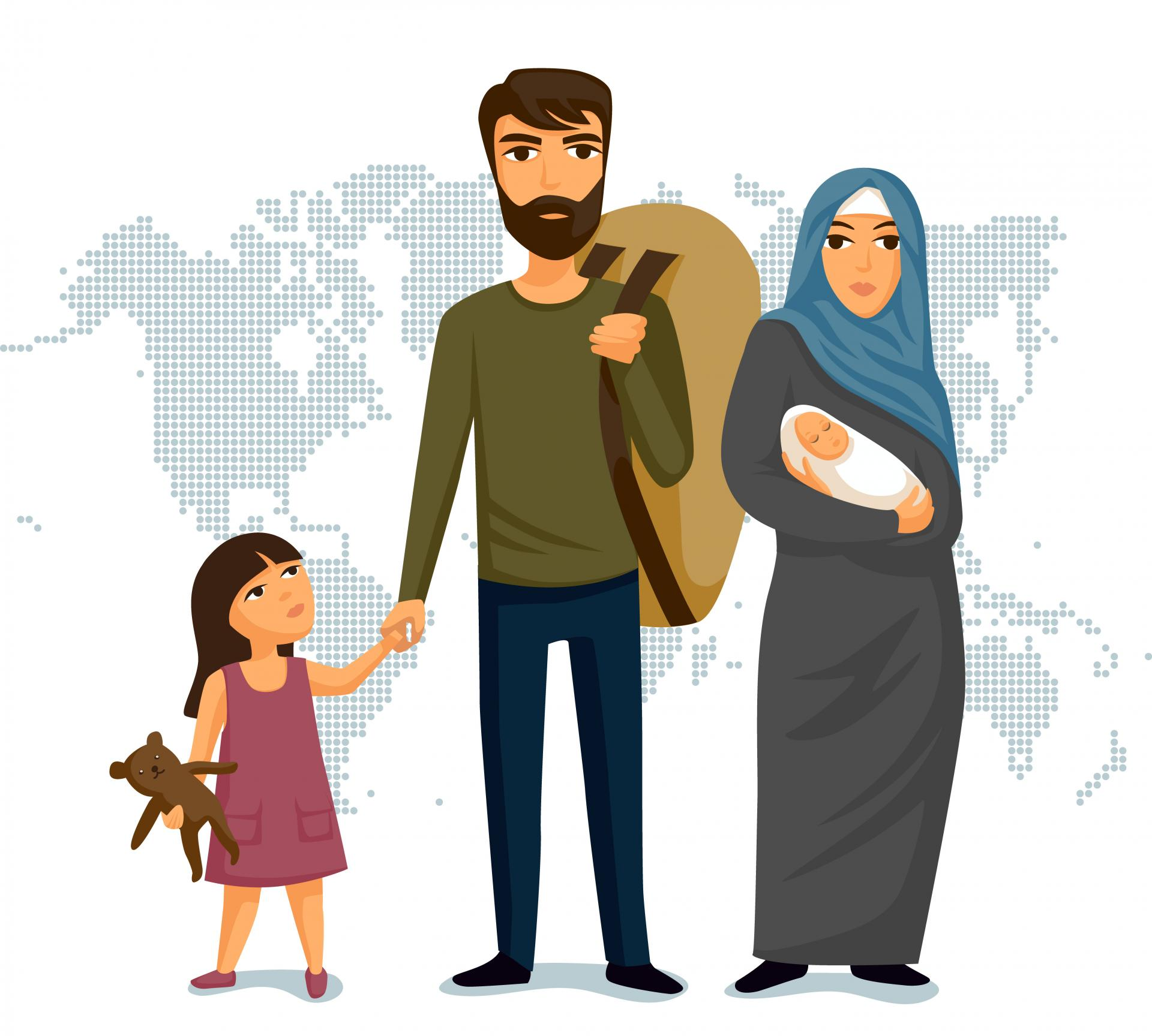 Refugees immigration concept illustration